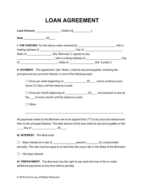 unsecured loan agreement template free loan agreement templates pdf word eforms free