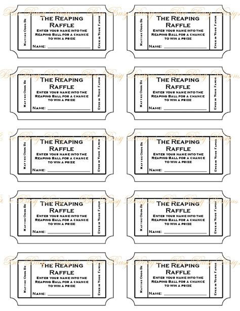 printable ticket template printable hunger reaping raffle tickets bee