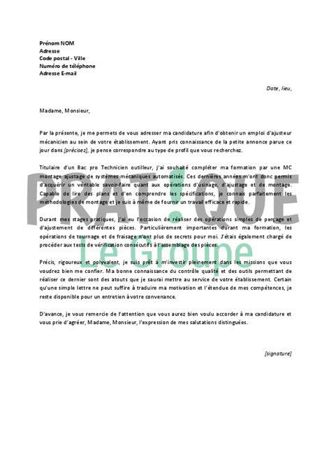 lettre de motivation pour un emploi d ajusteur m 233 canicien d 233 butant pratique fr