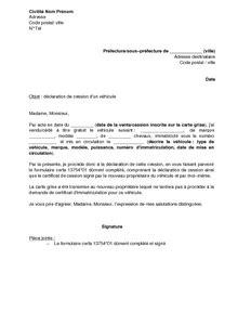exemple gratuit de lettre d 233 claration cession un v 233 hicule
