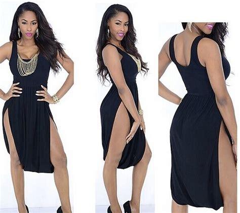 Bow Slit Black White Dress Size Sml plus size summer fashion bandage bodycon dress