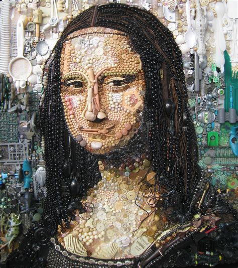 painting work artist re creates iconic portraits with thousands of found