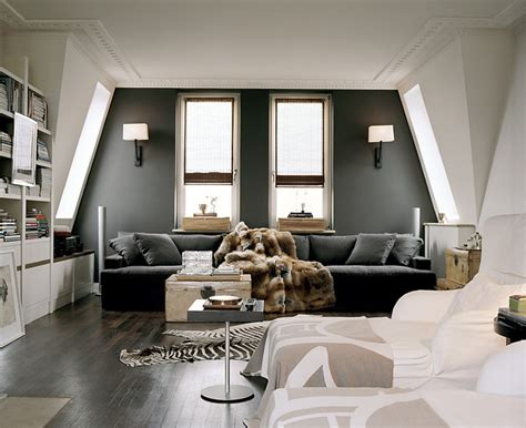 paris grey accent wall dark gray sofa with chaise lounge design ideas