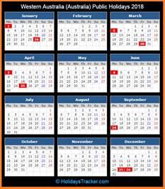 2018 Calendar Western Australia Western Australia Australia Holidays 2018