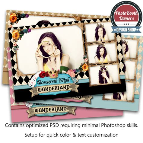 photo booth layout photoshop alice in wonderland postcard photo booth template