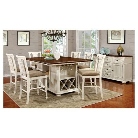 captivating cottage white dining set country style solid sun pine 7pc country storage counter height table set