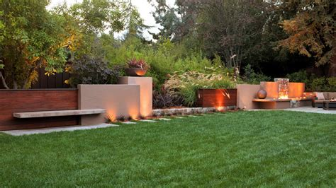 backyard walls chic fireplaces sunset