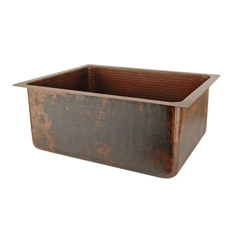 Hammered Copper Kitchen Sink Premier Copper Products Counter Surface Mount Rectangle Hammered Copper 20 In 0