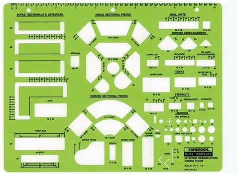 Interior Design Drawing Templates rapidesign r 718 interior design drafting template living