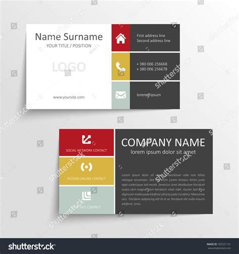 business card template millions of users modern simple business card template with flat user
