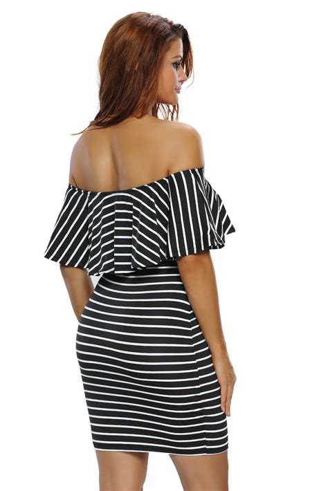19051 Black White Stripped Sale Casual Two Pcs stylish white black striped shoulder bodycon dress