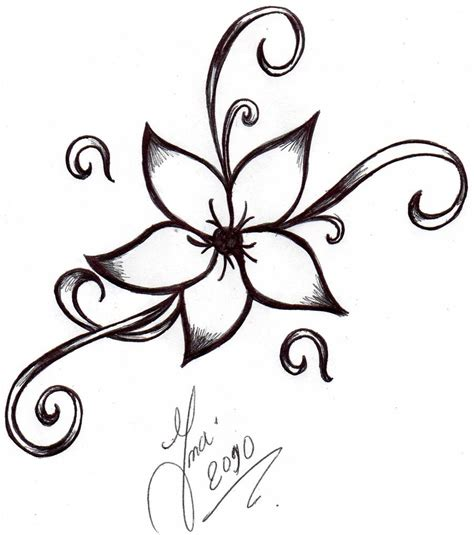 new vine flower tattoo design