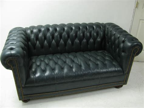 green leather loveseat classic green leather two seat chesterfield sofa at 1stdibs
