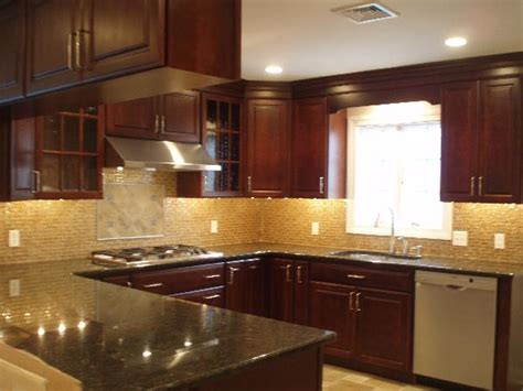 kitchen backsplash cherry cabinets kitchen on cherry cabinets granite
