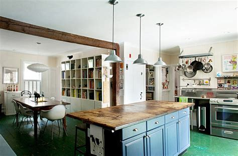 Kitchen with weathered green floors   Decoist