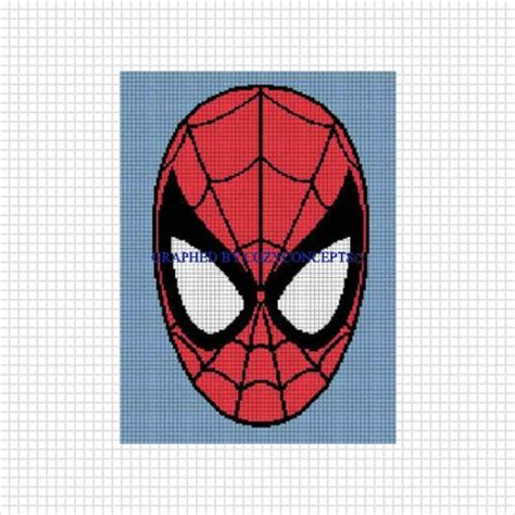 Spiderman Graph Pattern | graph spiderman face crochet afghan pattern graph emailed