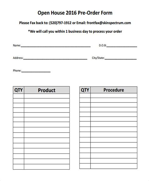 food pre order form template 9 product order forms free sles exles format