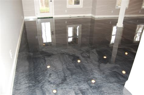 Basement Man Cave with Metallic Floor in Clayton NC by