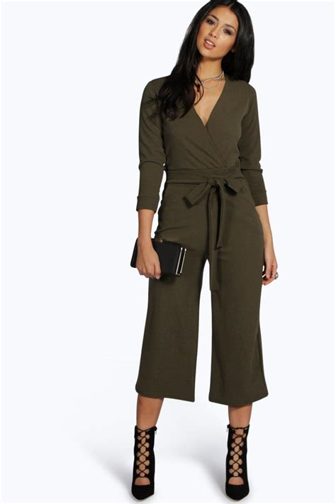 Jumpsuit Jeny V Neck boohoo womens roll sleeve relaxed culotte jumpsuit