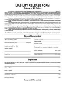 release of liability form template free general liability waiver form general liability release
