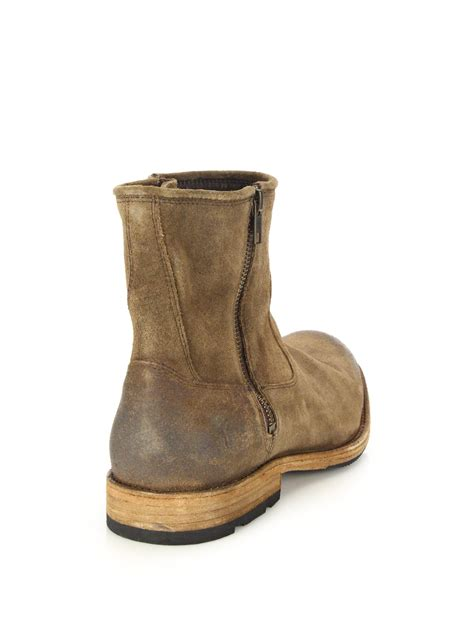 brown leather moto boots lyst frye ethan zip leather moto boots in brown