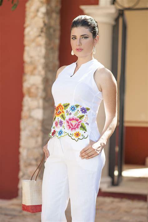 blusas de lino para mujer blusa y pantal 243 n de lino blanco www esenciamaya moda