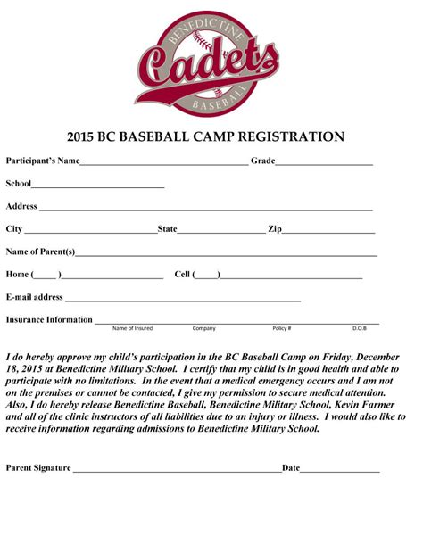 sports team registration form template baseball c registration form template templates