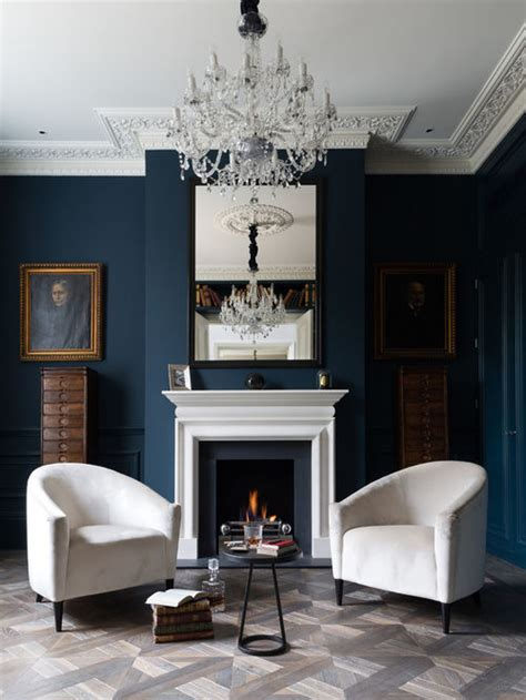 Grey Edwardian Living Room Living Room Design Ideas Remodels Photos With Blue