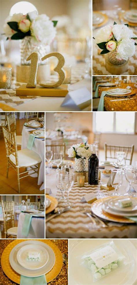 Deko Mint Hochzeit by Glitzer Hochzeit In Gold Mint Wei 223 Inspirationen