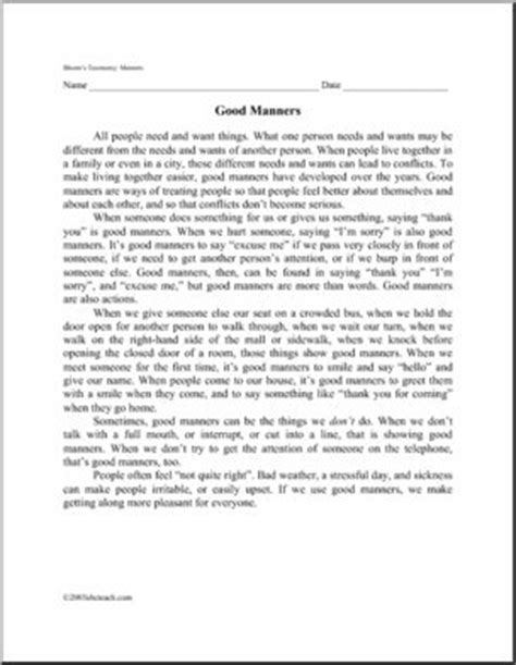 Reading Comprehension Worksheets For Middle School by Character Education Free Worksheets For Middle School