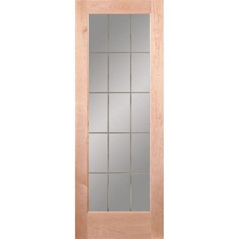 Maple Interior Door Feather River Doors 28 In X 80 In 15 Lite Illusions Woodgrain Unfinished Maple Interior Door