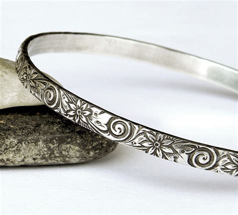 Choco Floral Stack Bangles ornate floral vintage look bangle heavy solid sterling
