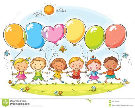 imagenes de niños jugando con globos ni 241 os con los globos ilustraci 243 n del vector imagen 53138154