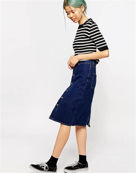 monki monki high waisted denim skirt at asos