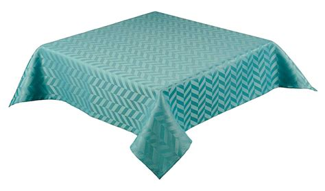 Square Table Cloth Monte Carlo Tablecloth With Chevron Design Teal Blue