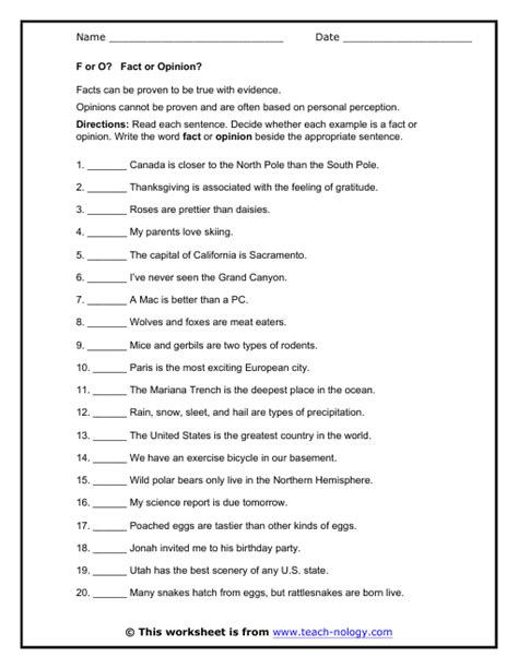 Fact And Opinion Worksheets by F Or O Fact Or Opinion