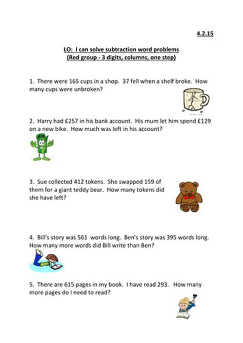 column subtraction word problems ks2 by emmastead