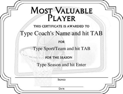 basketball mvp certificate template award certificate templates