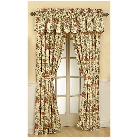 curtains at lowes shop waverly felicite 84 in l floral creme rod pocket
