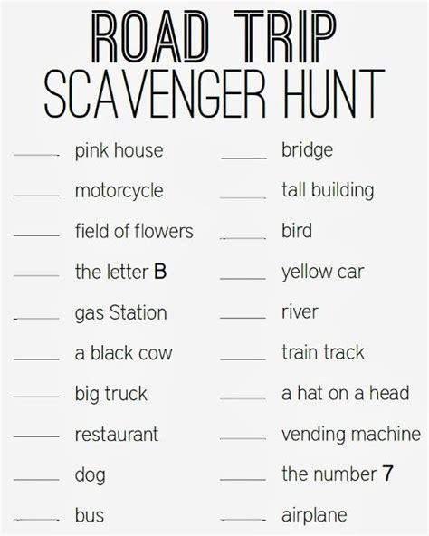 printable road trip scavenger hunt road trip scavenger hunt printable turning it home