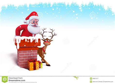 santa coming out of chimney royalty free stock photography santa is coming out of