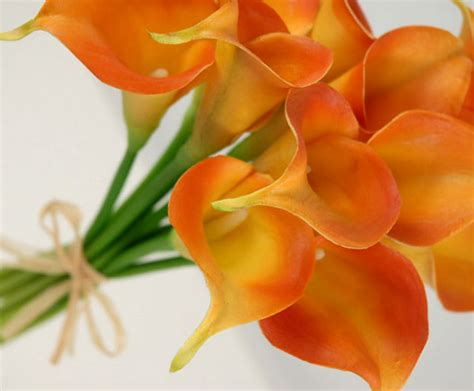 Vase Stands Small Real Touch Hand Tied Orange Calla Lily Wedding