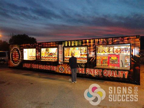 discount fireworks stand container wrap signs  success