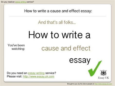 How To Write Cause And Effect Essay by How To Write A Cause And Effect Essay Essay Writing