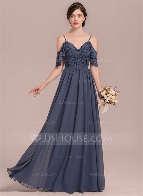 A Line/Princess V neck Floor Length Chiffon Lace