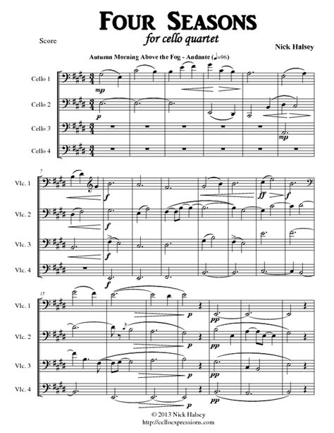 autumn seasons quartet 1910701637 four seasons for cello quartet cello expressions sheet music library