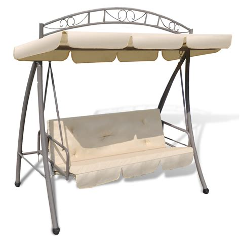 canopy swing chair outdoor swing chair bed canopy patterned arch sand white