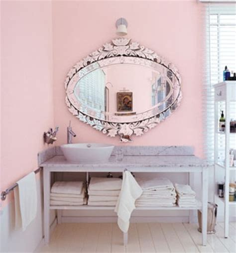 pink bathroom mirror venetian mirror in pink bathroom for the home pinterest