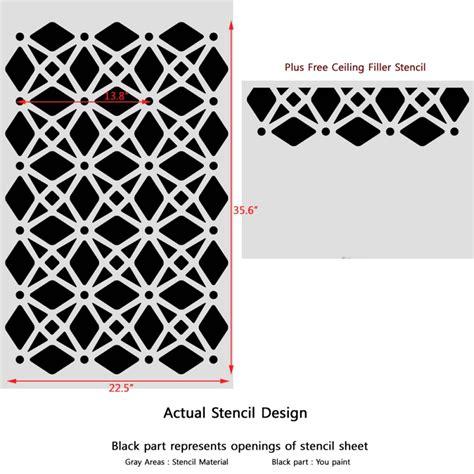 Sticker Stencils For Walls large moroccan wall stencil geometric lattice for easy diy