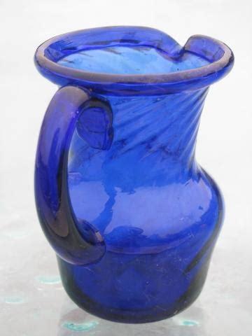 cobalt blue swirl hand blown glass pitchers vintage mexican art glass